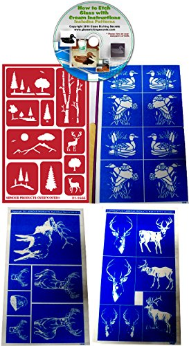 Wildlife & Outdoors Glass Etching Stencils (4) Pack of Deer, Elk, Ducks, Eagle, & Mountains + How to Etch CD by Armour