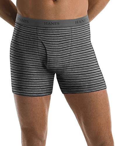 Hanes Men's 5 Pack Ultimate FreshIQ Assorted Striped Boxer B