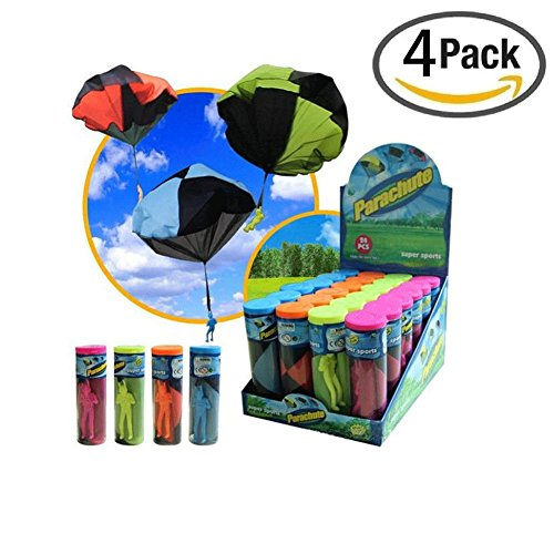 Biowow 4 Pack Tangle Free Throwing Toy Parachute Man for Kids 4 Inch Mixed Color by Biowow