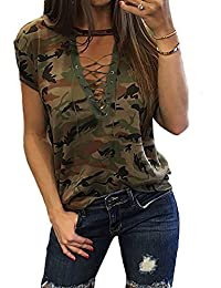 Women's Short Sleeves Camouflage Lace-up Casual Top Sexy Hollow Lace Up Shirt