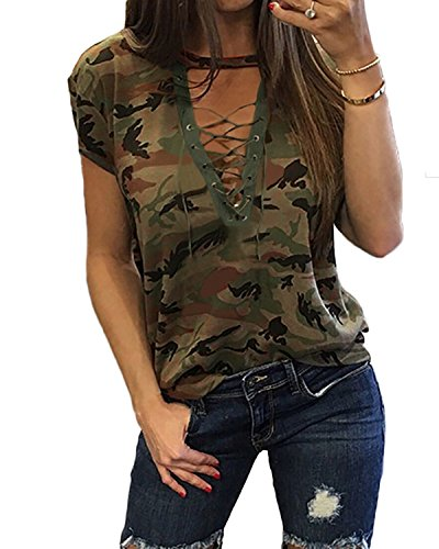 Women's Short Sleeves Camouflage Lace-up Casual Top Sexy Hollow Lace Up Shirt (XL, Army Green)