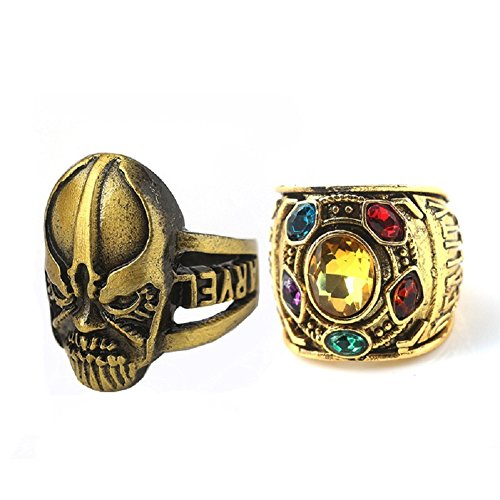 (Joyfunny Thanos Power Ring Deluxe Infinity Cosplay Golden Ring with Crystals Costume Prop C-10)
