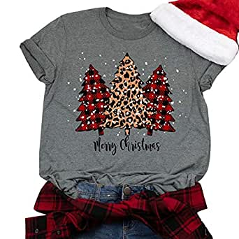 GHdggk Womens Cute Christmas Tree Graphic T Shirts Summer Short Sleeve Tops Tees (X-Large,Grey)