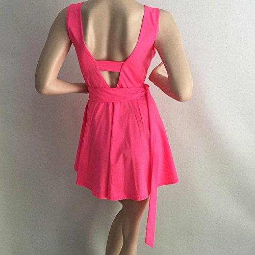 ... Damen Ärmellos Abendkleider Tief V-Ausschnitt Sommerkleid Rückenfrei  Partykleid Mädchen Kleider Frauen Kleid Minikleid Solide ... fb4caeb501