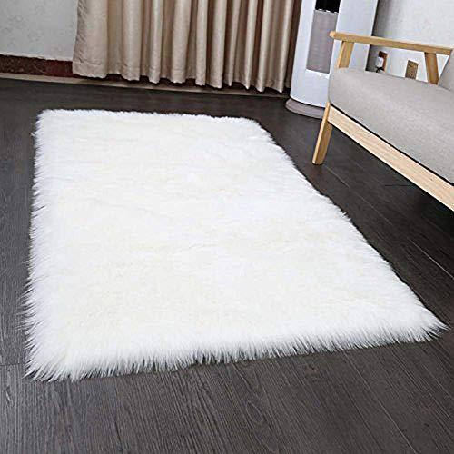 YJ.GWL Modern Fluffy Faux Sheepskin Fur Area Rugs for Bedroom Living Room Furry Floor Carpet Home Decor 4' x 5.3', White