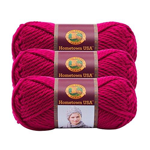 Yarn Rouge - (3 Pack) Lion Brand Yarn 135-103 Hometown USA Yarn, Baton Rouge Fuchsia
