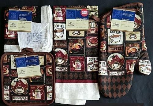 The Pecan Man Dining Linen Coffee Break Theme Everyday Decor Kitchen Set of 6, 1 OVEN MITT & 2 Pot Holders & 2 Dish Cloths & 1 Kitchen Towel