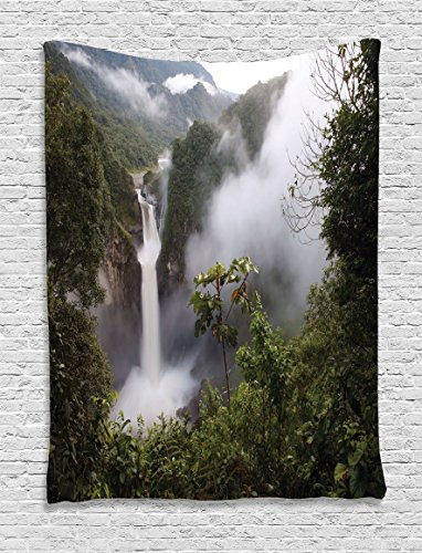 Rainforest Decorations Tapestry Ambesonne Waterfall