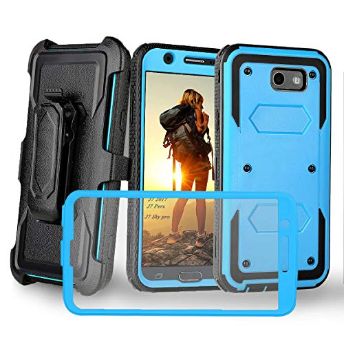 Compatible with Galaxy j7 2017 Case,Galaxy J7 V J7V/Galaxy J7 Perx/Galaxy J7 Prime/Samsung Galaxy J7 Sky Pro/Galaxy Halo W Built-in Screen Protector Kickstand Full-Body Armor Belt Holster,Blue -