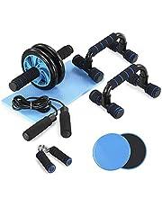 TOM SHOO 6-in-1 buikspier-set met push-up-staaf, glijschijven, springtouw en kniebeschermer, krachttraining, fitnessapparatuur - Ab Trainer voor thuis en sportschool