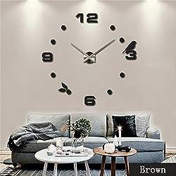 DIY 3D Wall Clock Modern Large Home Decor Sticker Frameless Black Mirror For Office Living Room Bedroom Kitchen Bar Number Birdie Clock Plate