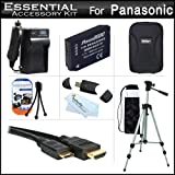 Essential Accessories Kit For Panasonic DMC-ZS20, DMC-ZS25, DMC-ZS25K Digital Camera Includes Extended Replacement (1200 maH) DMW-BCG10 Battery + AC/DC Travel Charger + Mini HDMI Cable + USB 2.0 Reader + Case + 50 Tripod w/Case + Screen Protectors + More