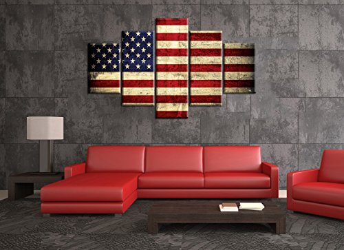 Vintage American Flag Canvas Red White Blue Wall Art Retro Patriotic Concept USA Flag Painting Stars Stripes 5 PCS Artwork Print Giclee for Living Room Home Decor Stretched Framed(60''W x 32''H)