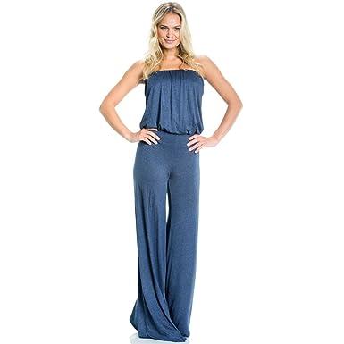 57befe97b5a Amazon.com  Elan Cool Strapless Tube Top Style Denim Blue Long Jumpsuit