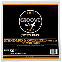 Combo Pack Premium Outer Record Sleeves With Resealable Non-Adhesive Flap For 12 Inch Vinyl Records (50 Pack)