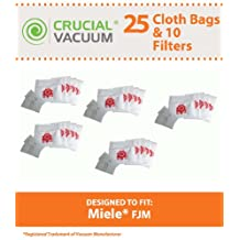 25 Miele Type FJM Premium Allergen Filtration Canister Vacuum Cleaner Bags + 5 Motor Filters, and 5 Exhaust Air Clean Filters, Designed By Crucial Vacuum