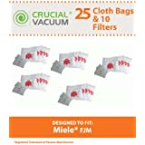 Filter/Bag kit for Miele Vacuums w/5 Motor Filters, 5 Air Clean Filters & 25 FJM Cloth Vacuum Bags; Designed & Engineered by Think Crucial