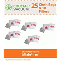 25 Replacements for Miele FJM HEPA Style Cloth Bags, 5 Motor & 5 Air Clean Filters Fit S241-S256i, S290-S291, S300i-S399, S500-S578, S700-S758 & S4000-S4999, by Think Crucial