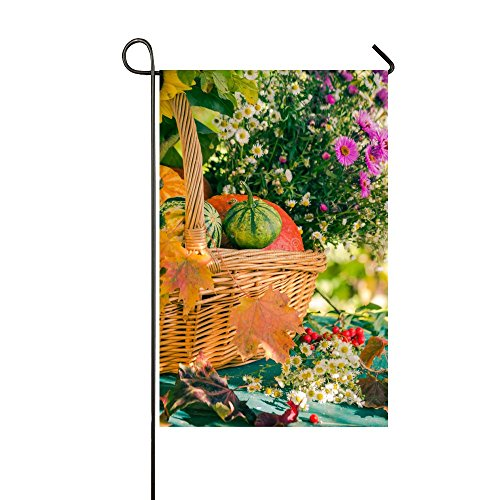 Rossne G sun A Basket Of Pumpkin Fruits And Colorful Flowers Garden Flag House Flag Decoration Double Sided Flag 12.5