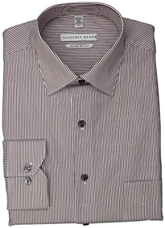 Geoffrey Beene Men's Red and White Striped Dress Shirt, Burgundy, 15.5 32-33
