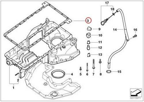 Oil Pan to Engine Block E53 E60 E63 E64 E65 E66 X5 4.4i X5 4.8is 545i 550i 550i 645Ci 650i 650i 645Ci 650i 650i 745i 750i ALPINA B7 745Li 750Li X5 4.8i BMW OEM Oil Level Pan Gasket