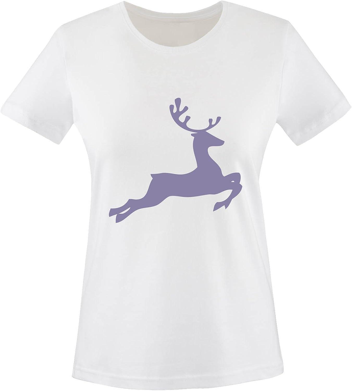 Rundhals Springender Hirsch 100/% Baumwolle Kurzarm Top Basic Print-Shirt Damen T-Shirt Comedy Shirts