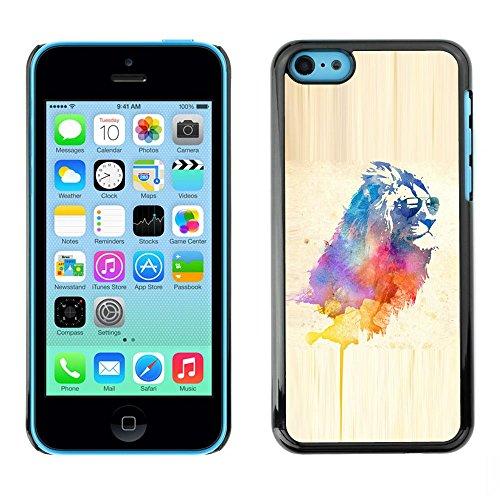 TopCaseStore / caoutchouc Hard Case Housse de protection la Peau - Cool Lion Sunglasses Watercolor Art Painting Cat - Apple iPhone 5C