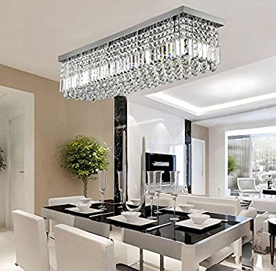 Siljoy Rectangular Raindrop Crystal Chandelier Lighting Modern Flush Mount Ceiling Light Fixture