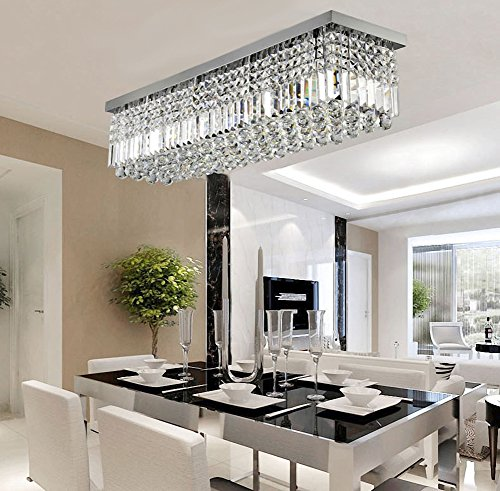 Rectangular Raindrop Crystal Chandelier Lighting Modern Ceiling Lights Flush Mount Fixture L31.5 X W10 X H10
