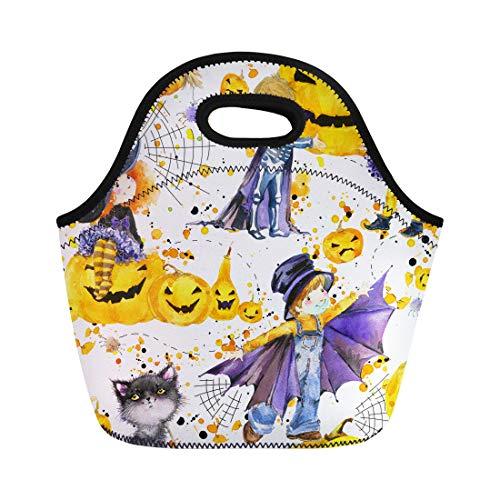 Tinmun Lunch Tote Bag Autumn Watercolor Cute Kids