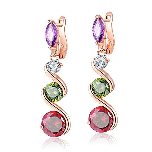 3987f44a906b72 ZRDMN Dangle Womens Earrings Long Earrings Ear Drop European and American  fashion Seven Color Crystal Zircon