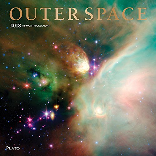 Outer Space 2018 12 x 12 Inch Monthly Square Wall Calendar with Foil Stamped Cover by Plato, Science Space Galaxies Stars