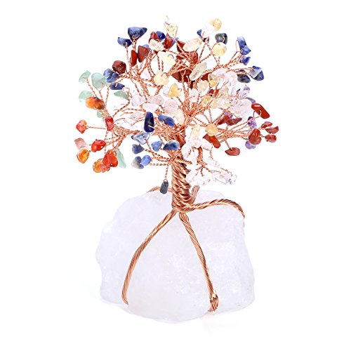 ui 7 Chakra Crystal Money Tree Natural Clear Crystal Cluster Base Bonsai Sculpture Figurine Office Living Room Good Luck Decoration ()