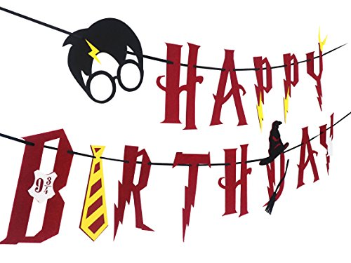 JAGGER M 1 12 [Upgraded] Harry Potter Supplies – Happy Birthday Banner Felt Garland Party Decoration, Red, 1