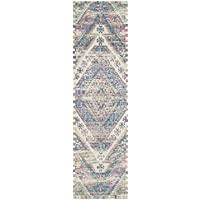 Safavieh Safran Collection SFN558A Hand-loomed Royal Blue and Fuchsia Distressed Bohemian Cotton Runner (23 x 8)