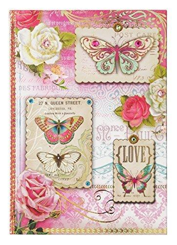 Pooch & Sweetheart Gold Foil Gem Embellished Hardcover Journal, Love Butterflies & Roses 97053