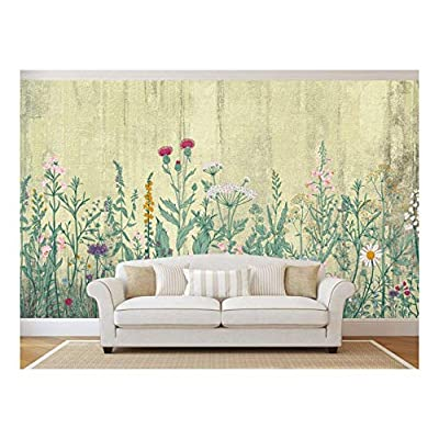 Wonderful Object of Art, Large Wall Mural Retro Style Flowers and Plants with Vintage Wall Background Vinyl Wallpaper Removable Wall Decor, Made With Love