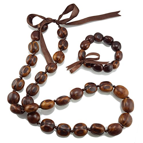 Kukui Nut Lei Necklace / Bracelet Set - Lei Kukui