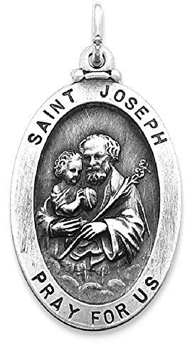 Joseph Patron Saint Medal (ICE CARATS 925 Sterling Silver Saint Joseph Medal Pendant Charm Necklace Religious Patron St Fine Jewelry Gift Valentine Day Set For Women Heart)