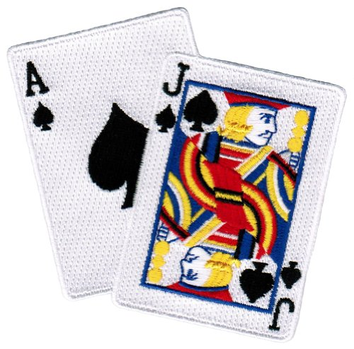Blackjack Iron-On Patch Embroidered Ace Jack of Spades Las Vegas Playing - Patch Card