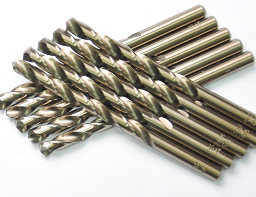 DRILLFORCE (10 Pcs) 5/32 in. x 3-1/8 in. HSS COBALT Drill Bits, Jobber Length, Straight Shank, Metal Drill,Ideal For Drilling On Mild Steel, Copper, Aluminum, Zinc Alloy -