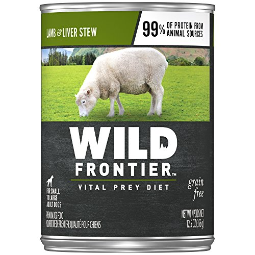 Nutro Wild Frontier Grain Free Adult Canned Wet Dog Food Chunks In Gravy Grass-Fed Prey Recipe Lamb Stew With Nutrient Rich Liver, (12) 12.5 Oz. Cans