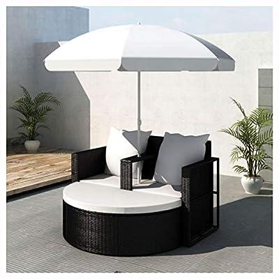 HomyDelight Outdoor Bed, Garden Bed with Parasol Black Poly Rattan