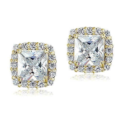 Yellow Gold Flashed Sterling Silver Cubic Zirconia Princess-Cut Square Halo Stud (Loop Stud)