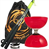 Juggle Dream Cyclone Quartz 2 (Red) Triple Bearing Diabolo, Metal Diablo Sticks, 10m String & Firetoys Travel Bag