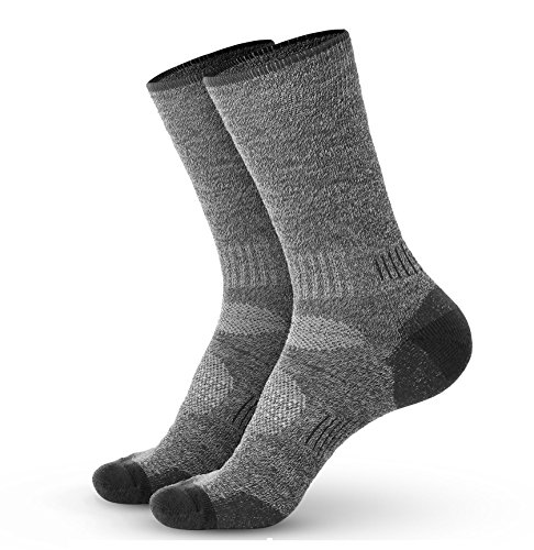 Pembrook Wool Sport Socks - S/M (1-Pack Gray) - Soft, Warm, Thermal Merino Wool – Technical Cushion and Support Features - Great for hiking, work, skiing, hunting. Sized for Men and Women. - Heated Acrylic Hunting Socks