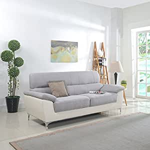 Modern Two Tone Fabric and Bonded Leather Living Room Sofa and Loveseat (Sofa)