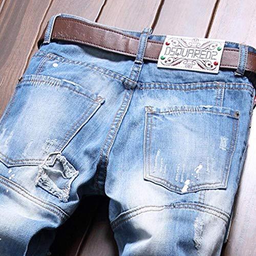 Tempo Cotone Da Uomo Toppe Pantaloni Fit Jeans Skinny Pants Dritti Libero Con Slim Blue Toppa In Denim ZqYwdZ