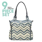 SoHo diaper bag Louvre 9 pieces nappy tote travel bag for baby baby mom dad stylish insulated multifunction unisex large capacity durable includes changing pad stroller straps mesh bag Chevron