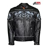 MEN'S REFLECTIVE SKULLS CROSSOVER RIDING LEATHER JACKET SCOOTER JACKET (5XL Regular)